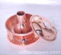 电炭两用加厚纯紫铜火锅厂家批发定做紫铜火锅(图)